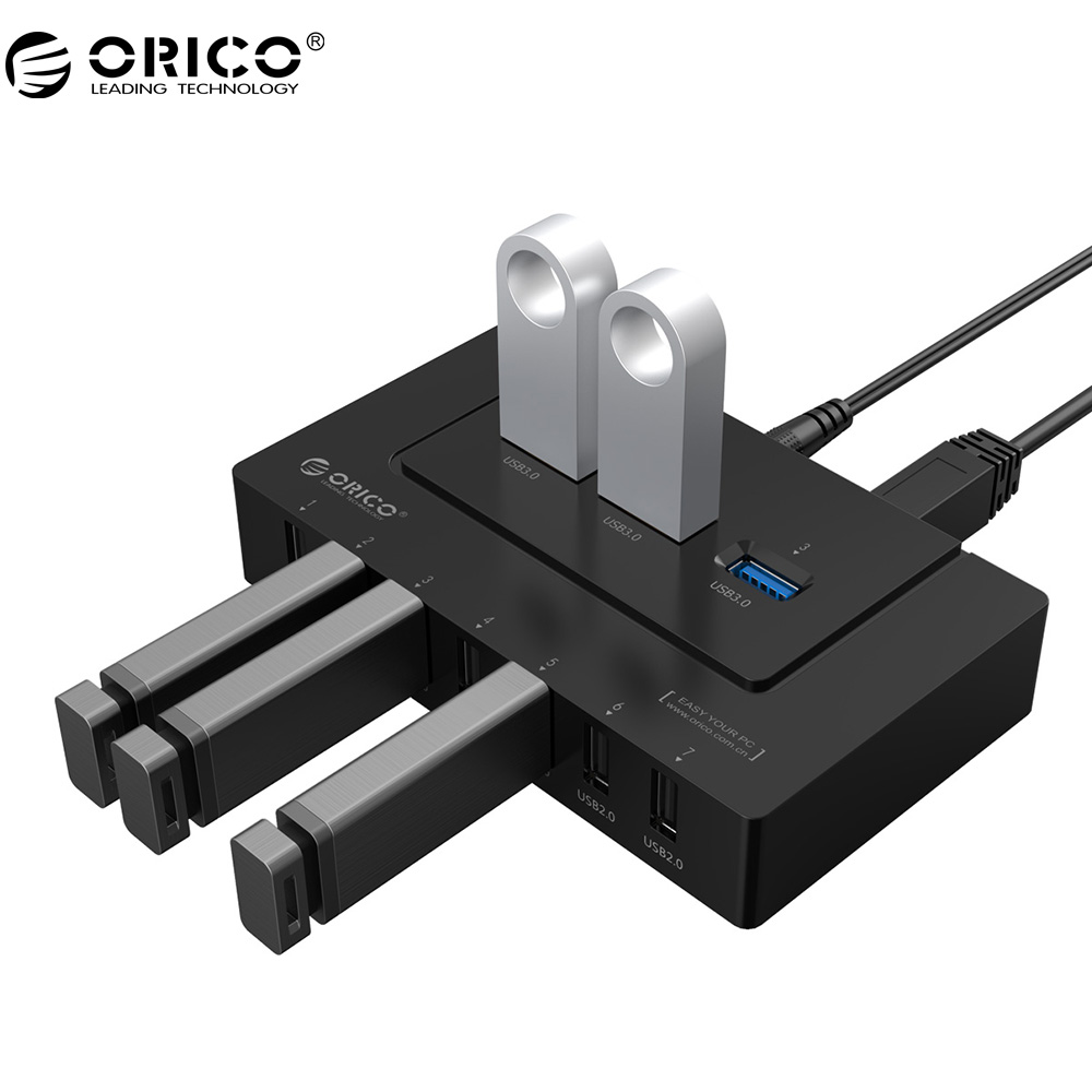 ORICO 10 Port USB2.0/USB3.0 HUB 5 Gbps SuperSpeed Transmission For Windows Mac OS and Linux цены онлайн