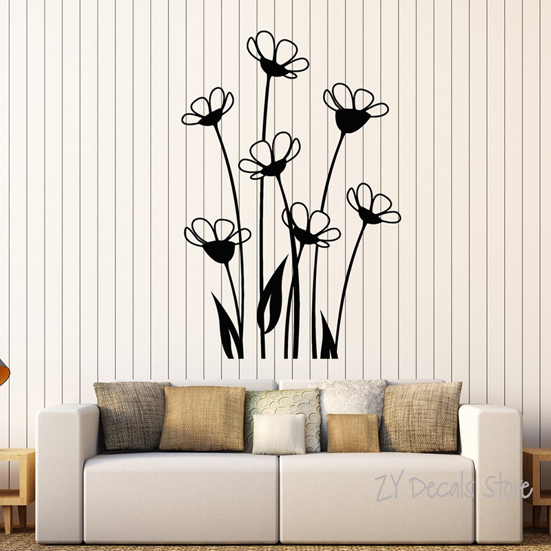 Buy vinyl wall decal beautiful flowers - Beautiful wall stickers for living room ...