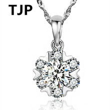 TJP Shiny Crystal Snowflake Design Female Pendants Necklace Jewelry 925 Silver Choker For Women Wedding Party Lover