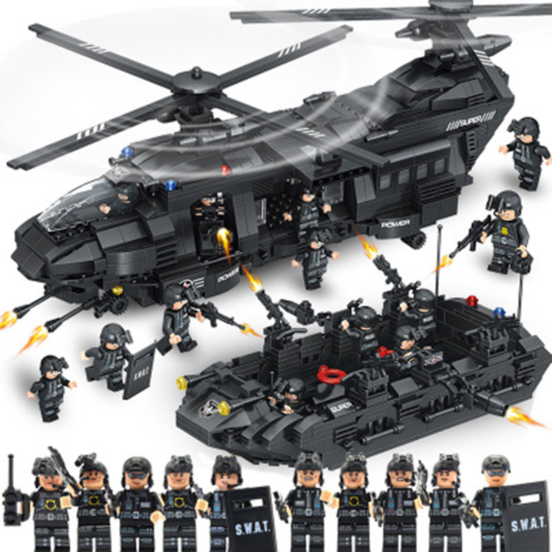 Duże klocki zestawy SWAT Team Transport Helicopter kompatybilny miasto policji prezent zabawki edukacyjne dla dzieci w Klocki od Zabawki i hobby na  Grupa 1