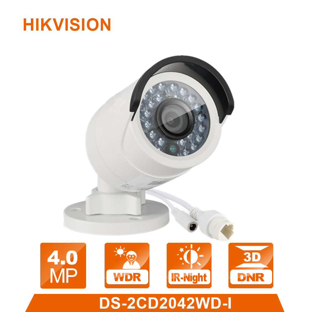 Original Hik DS-2CD2042WD-I Full HD 4MP 1080P IR Bullet Network IP Camera 4mm Night Vision Security CCTV Camera POE Home ONVIF newest hik ds 2cd3345 i 1080p full hd 4mp multi language cctv camera poe ipc onvif ip camera replace ds 2cd2432wd i ds 2cd2345 i page 1