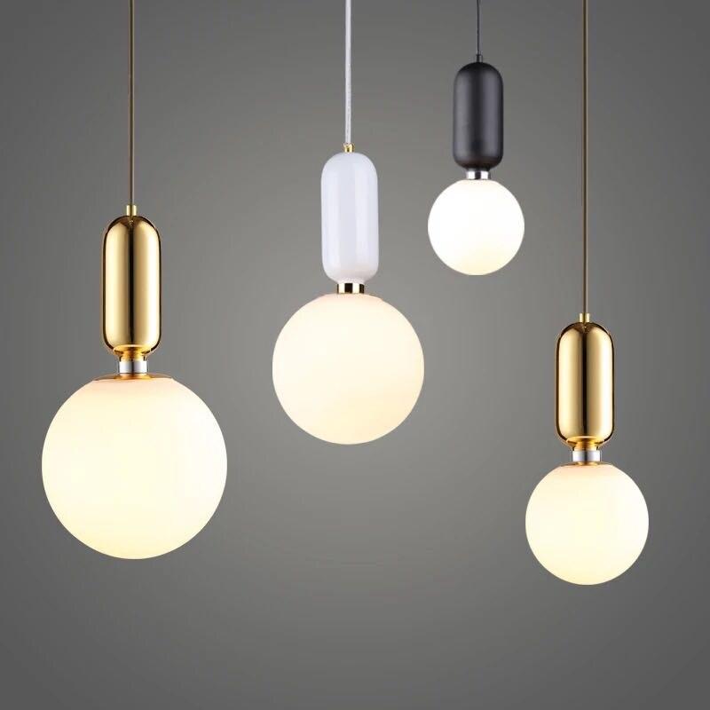 Nordic Globe Glass Ball Pendant Lights Gold/white/black Iron Hanging Lamps Led Lamp for Living Room Bedroom Restaurant Fixtures nowodvorski ball black white iii zwis