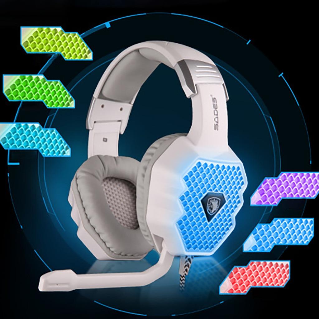 SADES A70 lampe de respiration jeu d'ordinateur casque filaire Microphone USB7.1 casque de jeu casque fone de ouvido livraison directe