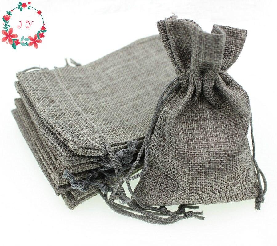 Wedding Gift Pouches: 50pcs/lot Blank Linen Bags Grey Fabric Wedding Favor