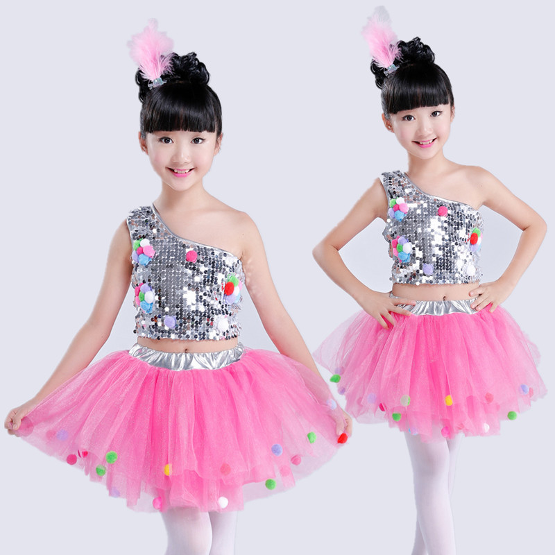 Children's Performing Sequins Skirt Modern Jazz Dance Performance stage Show Clothing girl's Kindergarten bubble Skirt JQ-067