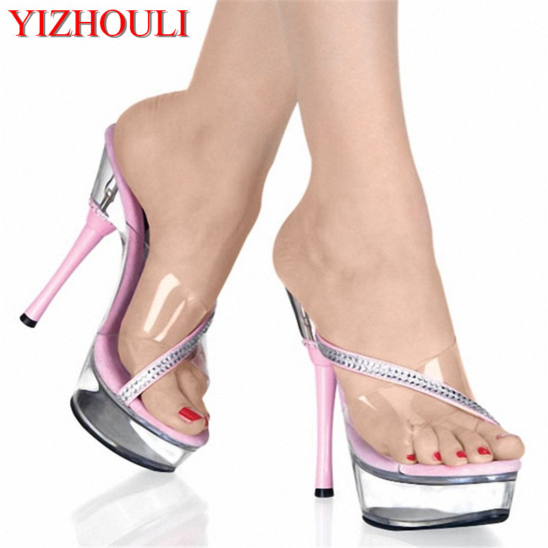 2018 Women's Summer Platform Sandals 5 Inch Fashion Thick Ultra High Heels Slippers 14cm Lady's Sexy Party Shoes slope with super high heels 14cm platform shoes sandals and slippers spring and summer fish head thick crust waterproof shoes
