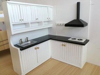 1:12 New Design Cute Dollhouse Miniature Integral Kitchen  Furniture Set 1096
