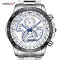 LONGBO Luxury Brand Полный Стали Кварцевые Наручные Часы Мужчины Водонепроницаемый Мода Повседневная Спортивные Часы Платье Бизнес Мужские Часы 80132