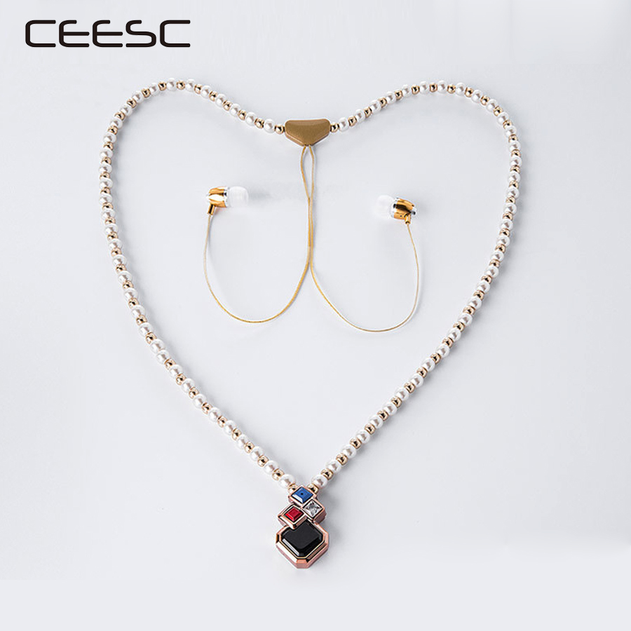 2017 new fashion wireless bluetooth  in ear Earphones  Metal Jewelry Pearl girl headset With Mic Earbuds For Iphone Xiaomi gift
