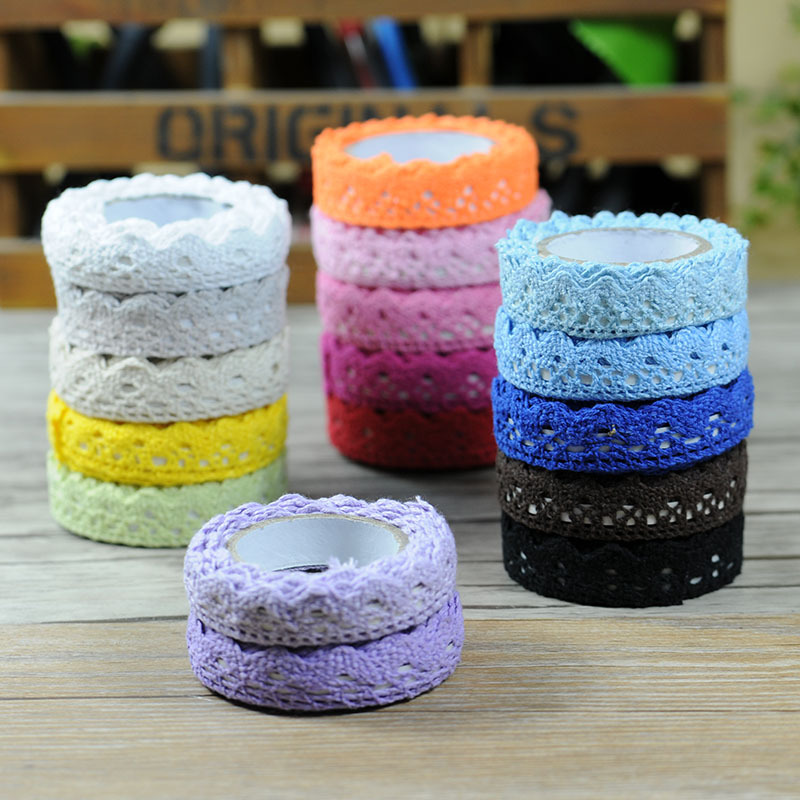Satin Face Decorative Tape Adhesive Lace Tape Washi Cloth Tapes Stickers Masking Tape Stationery School Supplies JD02