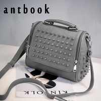 Women Rivet Handbag Solid High Quality Girl Shoulder Bag Vintage Pu Leather Crossbody Bag For Women