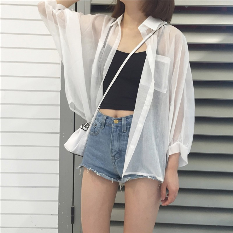 Blouse Woemn Summer Solid Color Sunscreen Blouses Tops Transparent Turn-Down Collar Casual Female Office Lady 2019 New