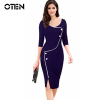 Woman Office Dress Fall Winter Button 3 4 Sleeve O Neck Knee Length Slit Formal Business