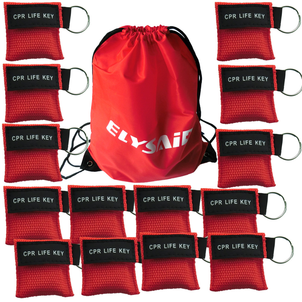 50 Pcs/Pack CPR Resuscitator Keychain Mask Key Ring Emergency Rescue Face Shield Mask With A Gift Bag