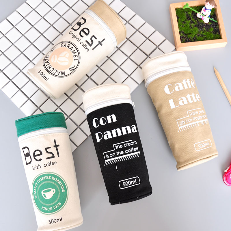 Funny Creative Coffee Pencil Bag Large Capacity Canvas Pencil Case Storage HandBag Pen Sationery Office School Supplies For Kids mini s size pencil bag pencil case pen stationery storage art school office home supplies transparent pens holder fashion gifts