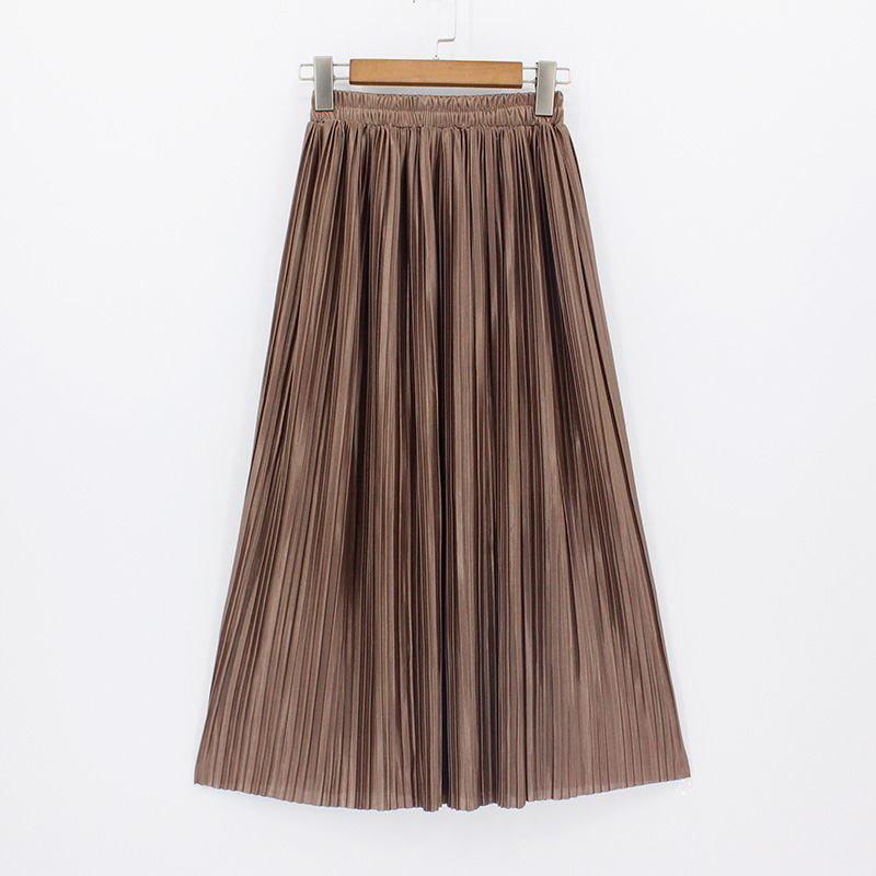 82894d1ea0 2018 Casual plisado Maxi Falda larga Mujer falda MEDIADOS DE-becerro playa  alta cintura metálica