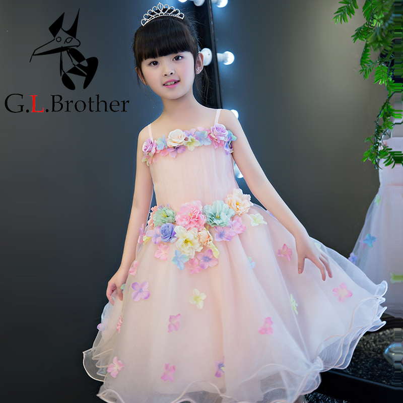 Appliques Flower Girl Dress New Ball Gown Kids Pageant Dress For Birthday Party Gowns Sleeveless Floral Princess Dress AA219 best floral imprint sleeveless skater dress