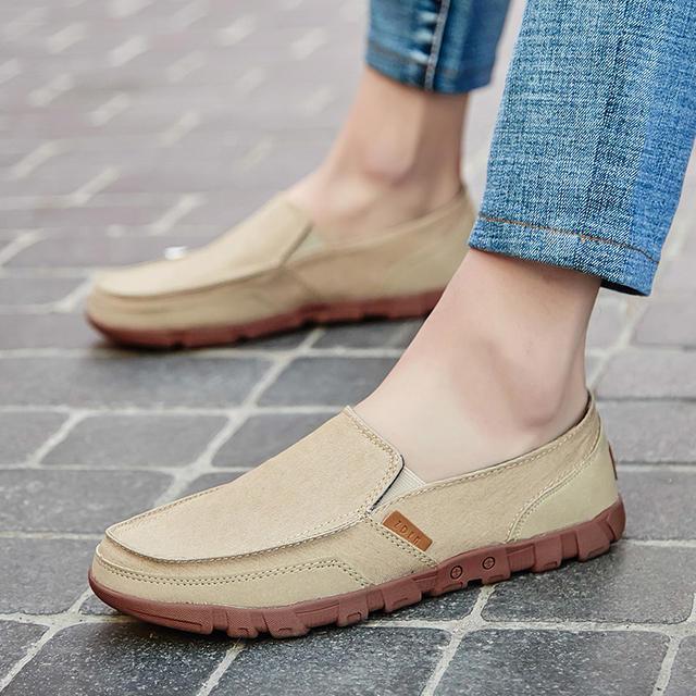 POLALI New Men Canvas Shoes Men's Fashion Solid Comfortable Casual Shoes Men Lace-up Light Summer Loafers Shoes Plus Size 38-48