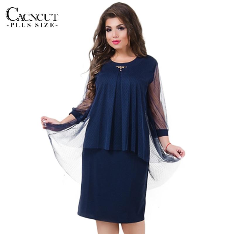 2018 Summer Dress Fashion Big Size Mesh Womens Dresses Plus Size