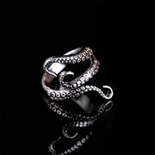 New Octopus Feeler Rings Stainless Steel Adjustable for Womens Mens Ring Punk Vintage Rock Fingers Party Jewelry