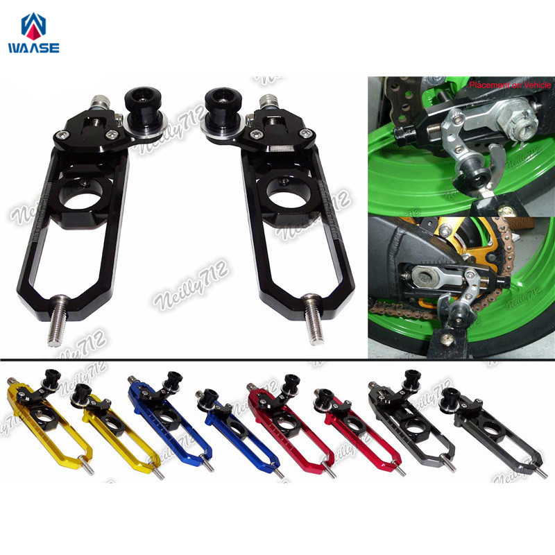 waase Motorcycle Left & Right Chain Adjusters with Spool Tensioners Catena For BMW S1000RR 2009-2014 / S1000R 2013-2017 waase left