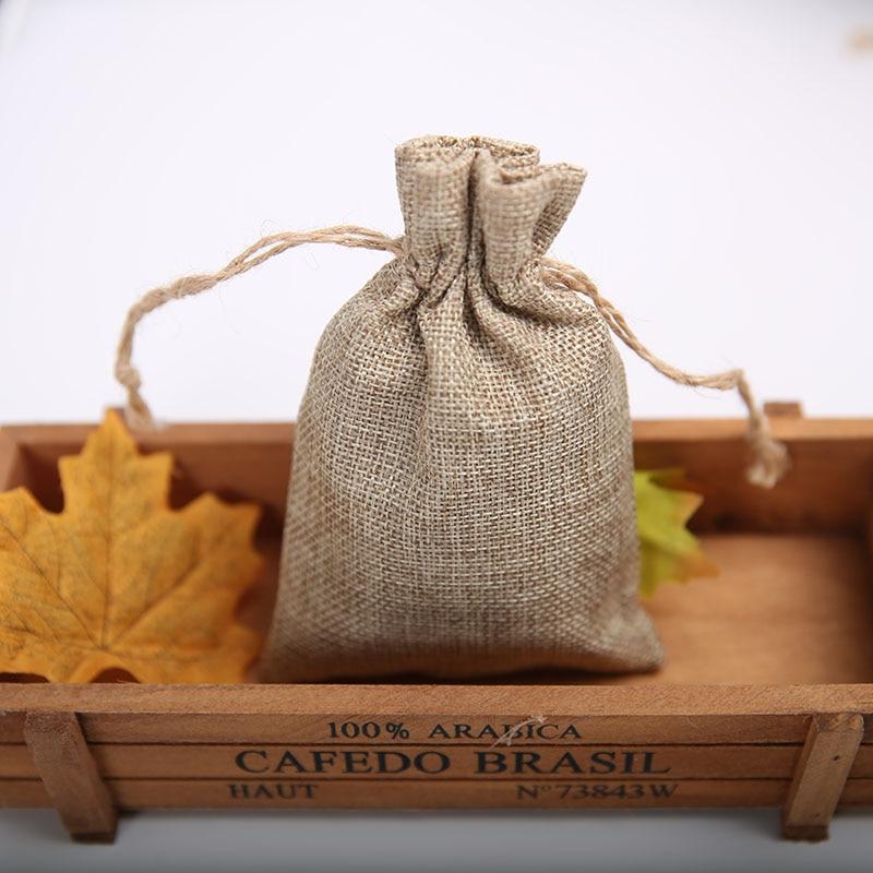 13x18CM Linen Bag Drawstrable Christmas Wedding Gift Drawstring Bags 10pcs lot Small Jewelry Flax Fabric Packaging
