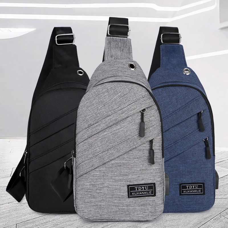 Litthing 2019 sacos de peito à prova dwaterproof água dos homens novos com fone ouvido buraco e porta carregamento usb crossbody viagem ao ar livre sacos ombro
