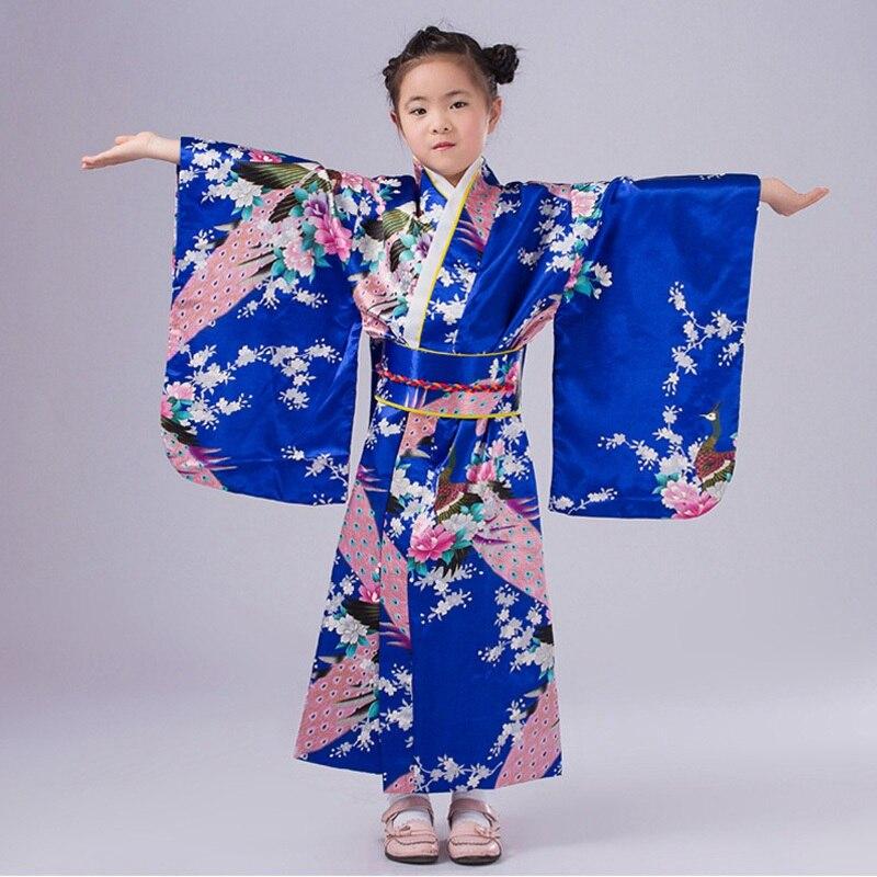 New Design Japanese Girl Kimono Dress Elegant Flower Kid Girl Dance Costumes Children Vintage Yukata 120-150cm цены онлайн