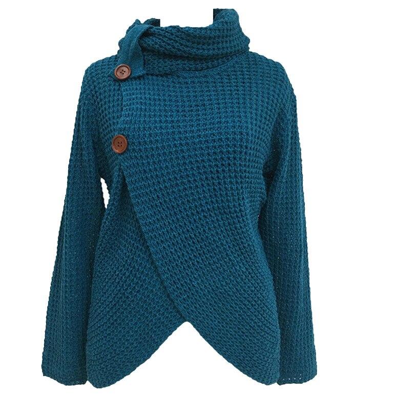 cb53c7422de Winter Women Knit Sweater Buttons Loose Cardigan Coat Warm High Collar  Irregular Sweater-in Cardigans from Women s Clothing on Aliexpress.com