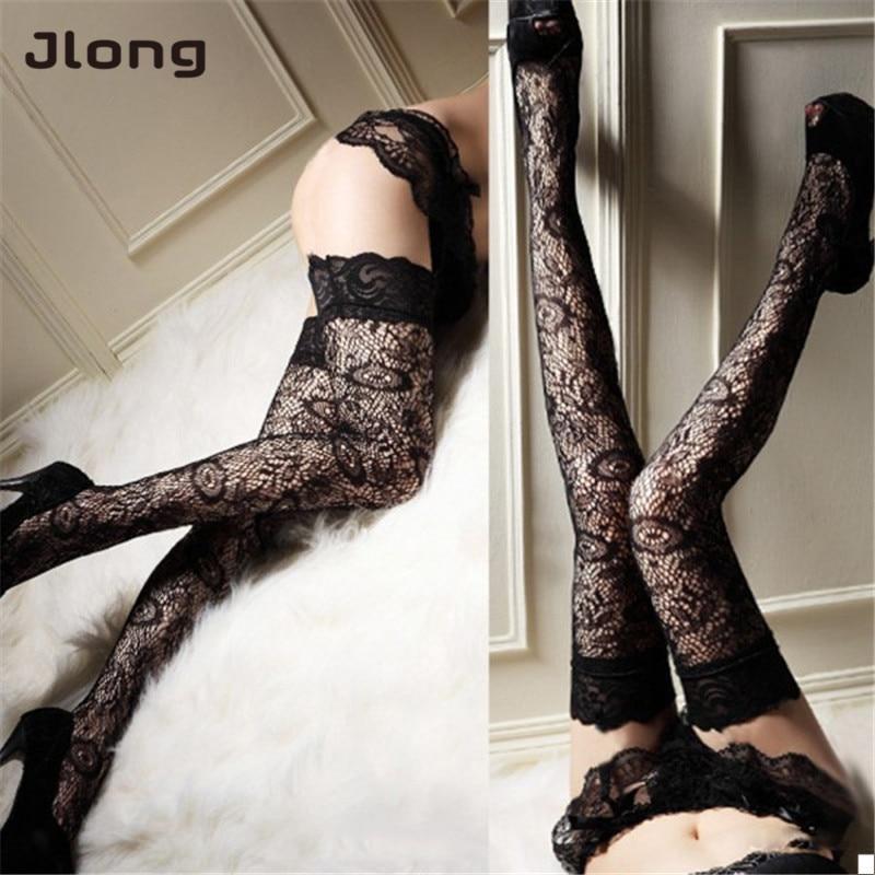 Women  Sexy Sheer Lace Thigh High Leggings Lady Black Leggings Trendy