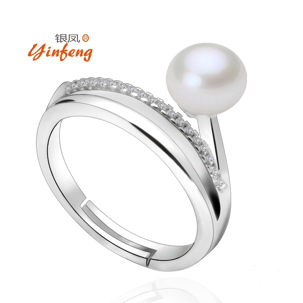 [yinfeng] Adjustable Simple Ring With Black White Pink Purple Pearls With  Crystal Zircons Design