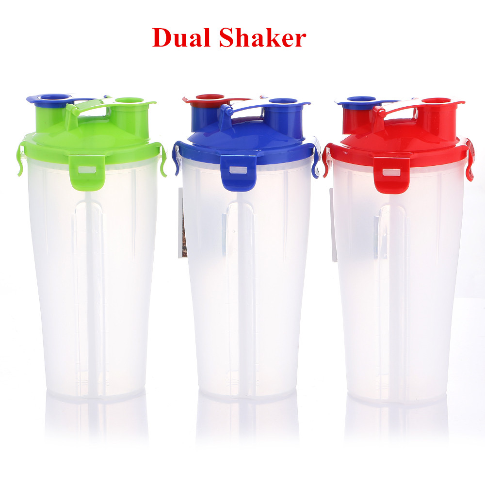 Realand 28oz Multifunctional Dual Protein Blender Bottle Snack Beverage Powder Whey Pill ...