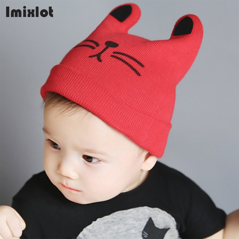 Imixlot Cartoon Kid Hats Cat Knitted Cap Beard with Ears Winter Warm Baby Caps Beanies Wool Girls Boys Hats Crochet the new children s cubs hat qiu dong with cartoon animals knitting wool cap and pile