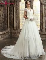 Beauty Emily White Wedding Dresses 2018 V Neck Cap Sleeve Appliques Lace Wedding Gowns Bridal Dresses