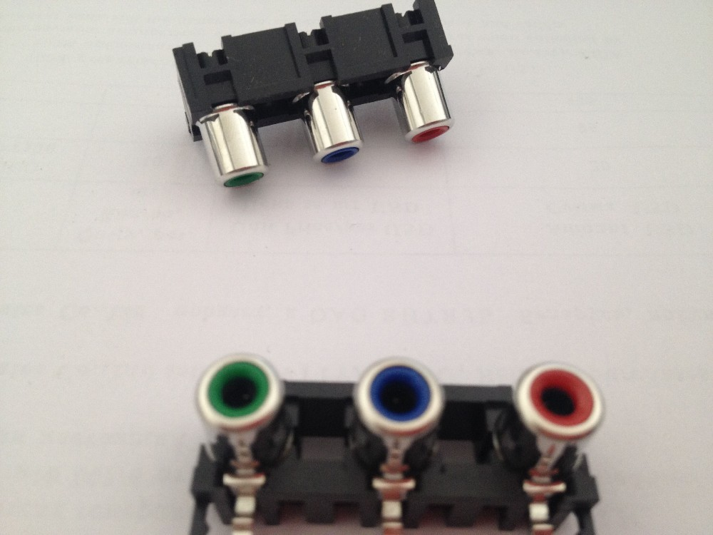 Free Ship 50pcs/lot  Three Parts Black,red Turquoise Audio Output Interface 3 Hole Video Audio Bridge Lotus RCA,rca Connector