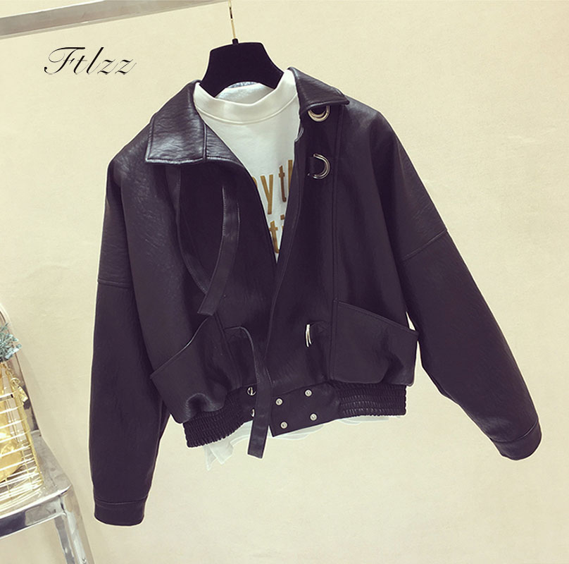 Spring Autumn   Leather   Jacket 2018 New Women Korean Black Loose Motorcycle Bikers Pu   Leather   Coats Long Sleeved Casual Jacket