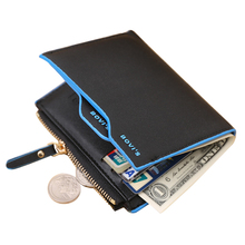 Men's leather wallet with coin pocket removable card holder driving licence pocket money bag with zipper for man