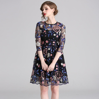 TUHAO Court Retro Embroidery Ball Gown Dress Women 2019 Spring Vintage Floral Dresses Special Occasion Elegant Vestidos TA6352