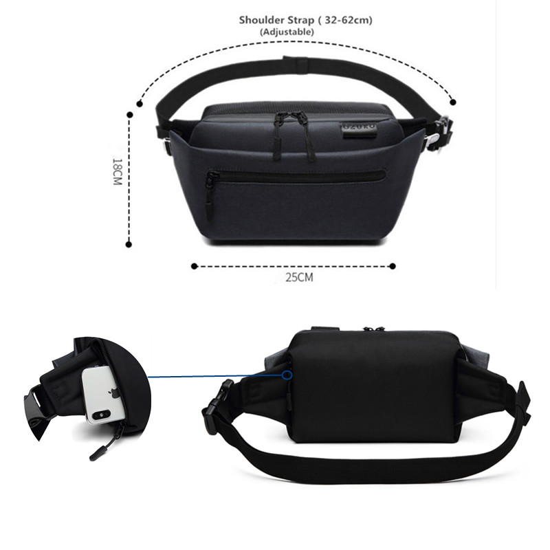 OZUKO Waist Bag Waterproof Men Fanny Pack Shoulder Belt Bag Male Phone Pouch Bags Travel Waist Pack Small Running Sport Bolso in Waist Packs from Luggage Bags