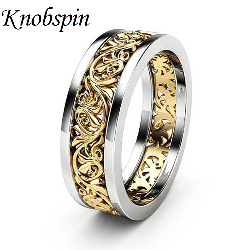 Hollow Flower Plated Gold Color Ring Eur