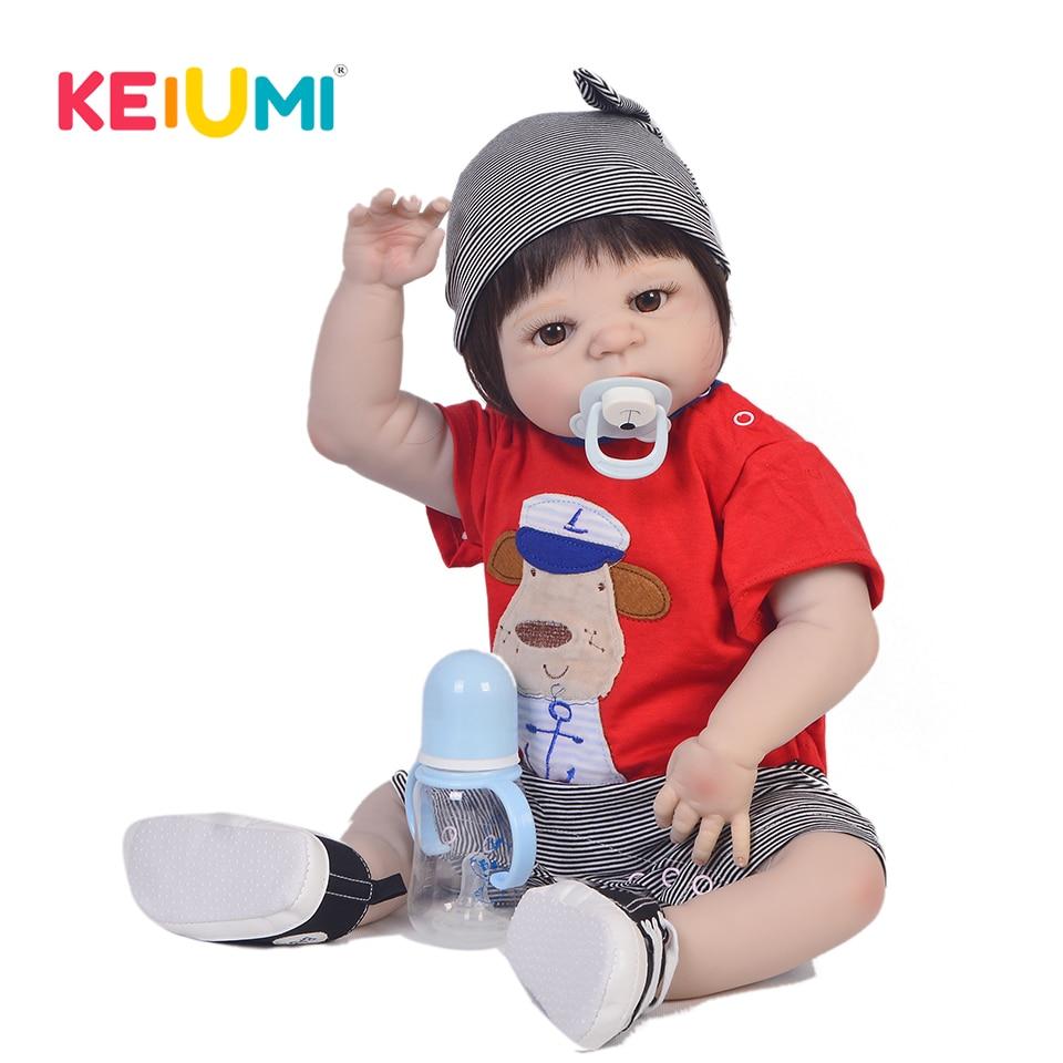 New Design 23 Inch Full Silicone Baby Doll 100 Handmade Lifelike Reborn Babies Boy Toy For