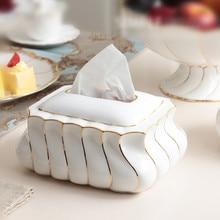 Modern Ceramic Pumping Paper Box Fashion Bone China Tissue Box European Living Room Household Daily Necessities Home Decor Gift