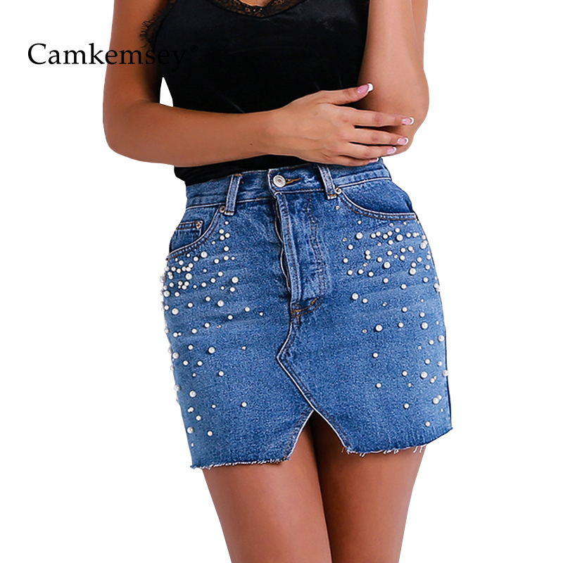 d3376354471e Aliexpress.com : Buy CamKemsey Fashion Pearl Beading Denim Skirts Women  Summer Mini Skirt Ladies Elegant High Waist Pencil Skirts Womens Clothing  from ...