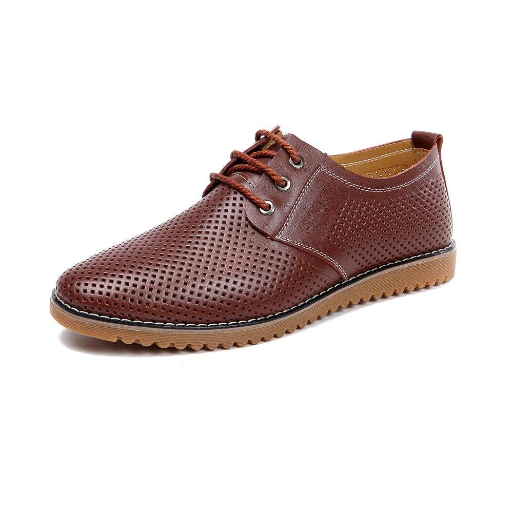 Men Fashion Casual Shoes Spring Summer Outdoor Breathable Comfortable Solid Color Hole Leather Zapatillas Zapatos De