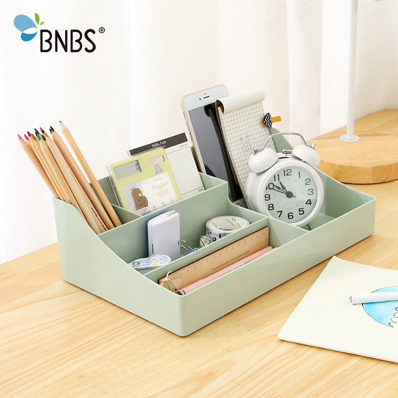 BNBS Office Stationery Multifunction Desktop Storage Box Plastic Cosmetic Organizer Makeup Brush Storage remote control holder