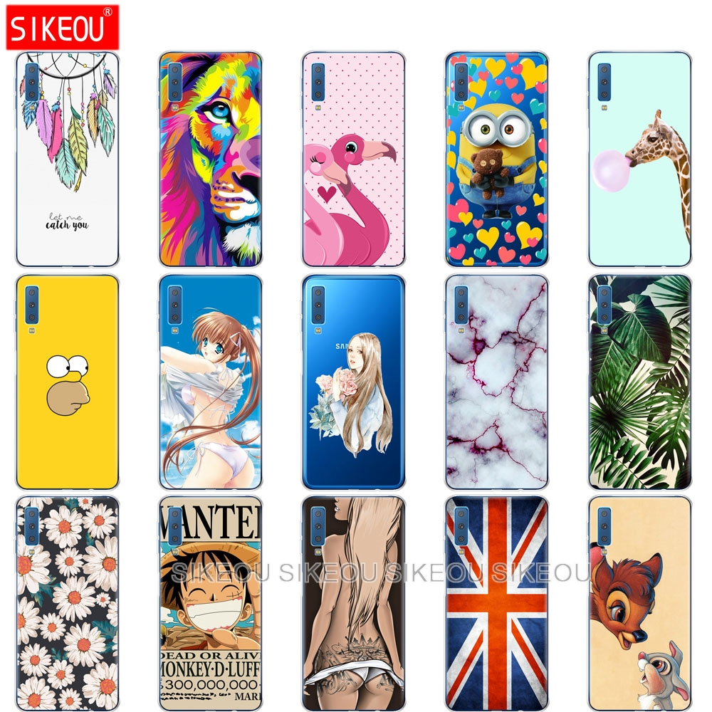 soft silicone Case For Samsung Galaxy A7 2018 Phone Cover Colorful Printing Back Cover For Samsung A7 2018 A750 A750F 6.0 Inch samsung a7 θηκεσ με σχέδια