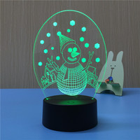 Cute Snowman 3D LED Night Light USB 7 Color Decoration Househould lamp for kids night light as Holidays & Birthdays Gift