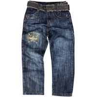 Boy S Embroidery Letter Pattern Denim Jeans Kids Full Length Sports Trousers With Belts Pockets Button