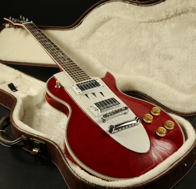 Starshine LP Corvette chitarra Elettrica Acero Figurato Top Impiallacciatura Grover Tuner Più Colore Può Scegliere