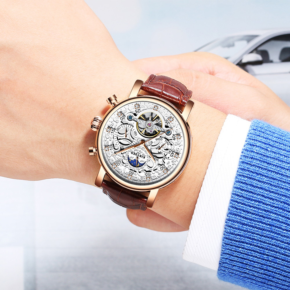 KINYUED Men Watch Automatic Moon Phase Calendar Tourbillon Mens Skeleton Mechanical Watches Gold Leather Military Wrist watch цена и фото